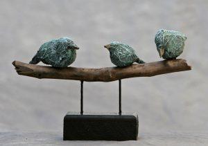 3 vogels op stok