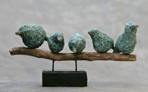 5 vogels op stok